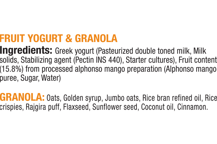 Epigamia Snack Pack, Mango Greek Yogurt with Chunky Granola