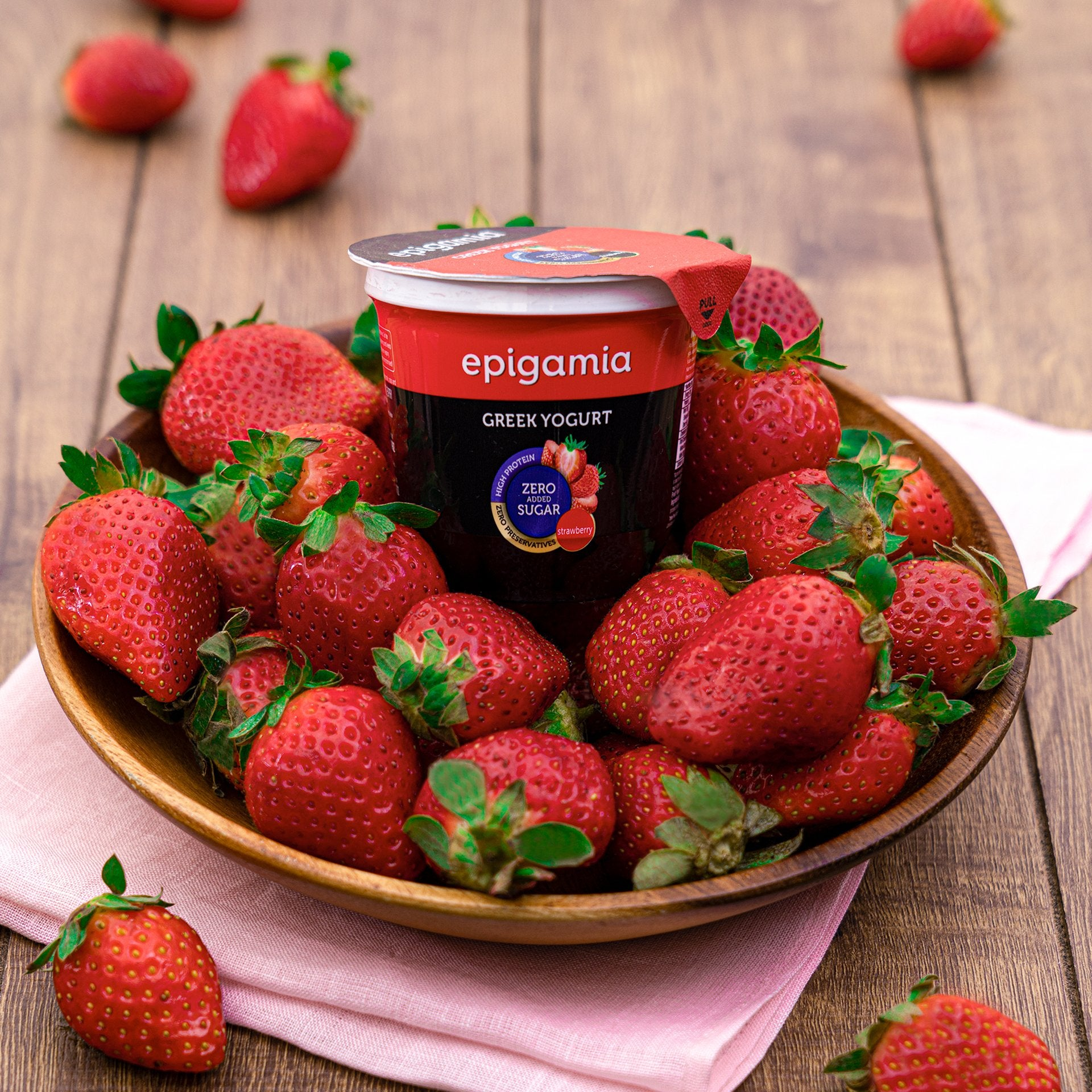 Epigamia Greek Yogurt - No Added Sugar, Strawberry - 120 gm