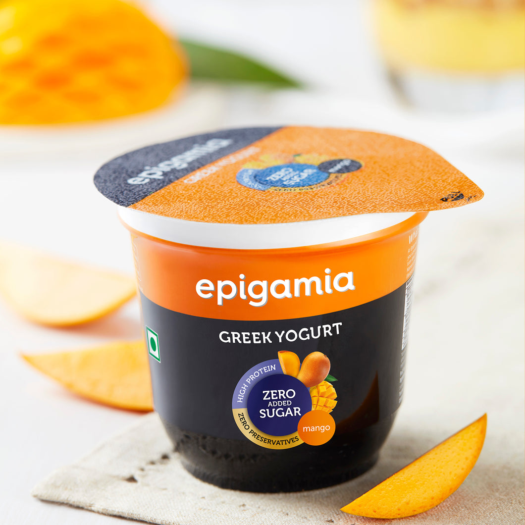 Epigamia Greek Yogurt - No Added Sugar, Alphonso Mango - 120 gm
