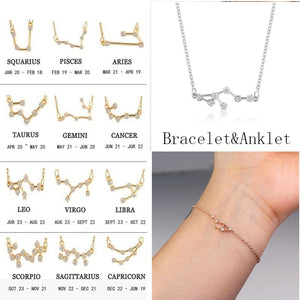 Trendy 12 Zodiac Constellation Chain Bracelet For Women Vintage Gold Sliver Color Crystal Anklet 2019 Bracelet Bohemian Jewelry