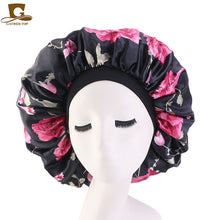 Load image into Gallery viewer, Extra Large Print Satin Silk Bonnet Sleep Cap with Premium Elastic Band