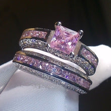 Load image into Gallery viewer, FDLK   Fabulous Alloy Vintage Rings Set Princess Color Pink Blue White Crystal Jewelry Birthday Promise Anniversary