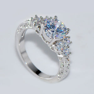 Fashion Beautiful Silver Crystal Zircon Ring Size 6/7/8/9/10 Hot Sale High Quality for Bride Women