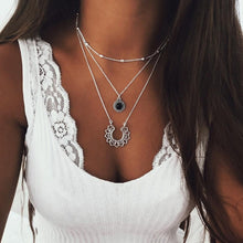 Load image into Gallery viewer, Abayabay Lotus Necklace Multilayer Chain Women Necklaces Jewelry Lovers Black Trendy Personalized Girls Stainless Steel Collares