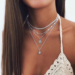 Abayabay Lotus Necklace Multilayer Chain Women Necklaces Jewelry Lovers Black Trendy Personalized Girls Stainless Steel Collares