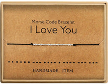 Load image into Gallery viewer, Morse Code Bracelet Charm Beads Bracelets Valentines Friendship Bracelets Silver String Adjustable Gift for Women Men Jewellery