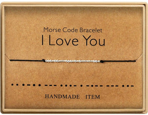 Morse Code Bracelet Charm Beads Bracelets Valentines Friendship Bracelets Silver String Adjustable Gift for Women Men Jewellery