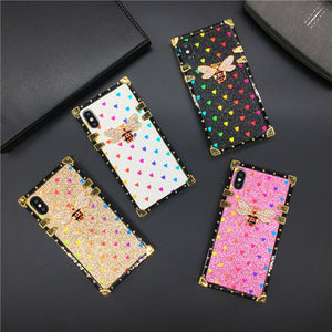 Luxury Brand Bling Love Heart Bee Cover Square Case for Samsung Galaxy S9 Plus S10 J4 J6 S8 Note 9 10 8 A10 A30 A70 A20S M20 M30