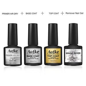 4pcs/set Nail Top Coat And Base Coat For Nails Semi Permanant Fast Dry Primer Soak Off Burst Remover UV Gel Nail Lacquer ZJJ3083