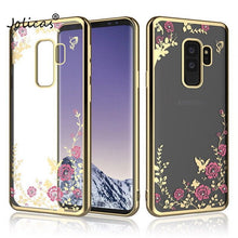 Load image into Gallery viewer, Flower Diamond Case For Samsung Galaxy A7 A9 A8 J4 J8 Plus 2018 Plating TPU Soft Cover For Samsung M10 M20 S10E S8 S9 S10 Plus