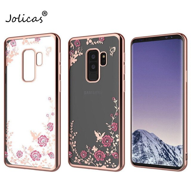 Flower Diamond Case For Samsung Galaxy A7 A9 A8 J4 J8 Plus 2018 Plating TPU Soft Cover For Samsung M10 M20 S10E S8 S9 S10 Plus