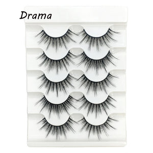 5Pairs New 3D Faux Mink Hair Soft False Eyelashes Fluffy Wispy Thick Lashes Handmade Soft Eye Makeup Extension Tools Wimpers