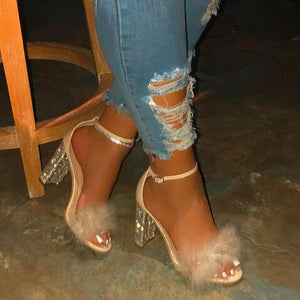Platform Heels Pumps Women Shoes Ankle Strap Sexy High Heels Faux Fluffy Fur Women Sandals Rhinestone Women Party Wedding Shoes