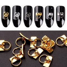Load image into Gallery viewer, Blueness 20Pcs/Lot Gold Silver Key Chain Design Nails Art Decorations Accessories Manicure DIY UV Gel Rhinestones Alloy Studs