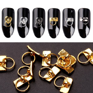 Blueness 20Pcs/Lot Gold Silver Key Chain Design Nails Art Decorations Accessories Manicure DIY UV Gel Rhinestones Alloy Studs