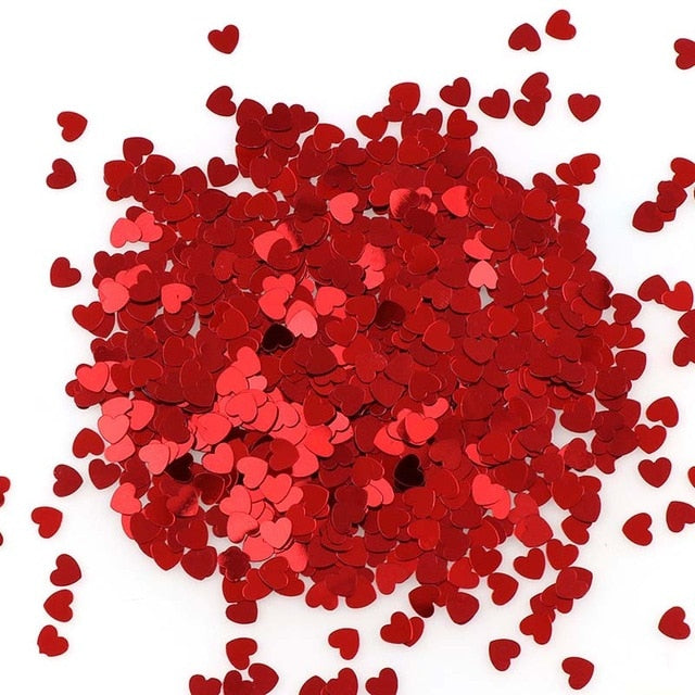 About 15g Red Heart Nail Glitter Mix Size Ultrathin Laser Sequins Nails Art Decoration For DIY Nail Art Tools