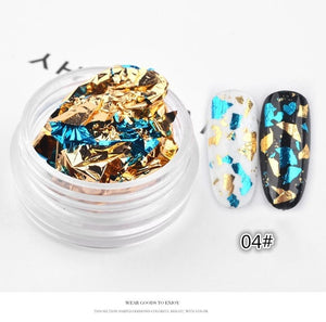 Nail Art Colorful Glitter Aluminum Foils 3D Flake Sticker UV Gel Polish Full Cover Laser DIY Nail Decoration Tools