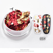Load image into Gallery viewer, Nail Art Colorful Glitter Aluminum Foils 3D Flake Sticker UV Gel Polish Full Cover Laser DIY Nail Decoration Tools