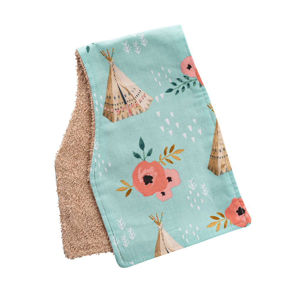 Floral Tee Pee Burp Cloths