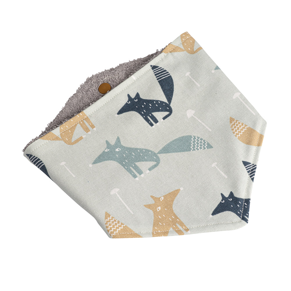 Grey & Tan Fox Bandana Bibs