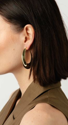Ovale Concave Hoop Earrings