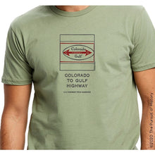 "Load image into Gallery viewer, ""America's Highway Pole Markers Series: Colorado Gulf Highway"" Shirt"