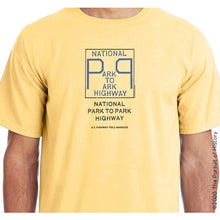 "Load image into Gallery viewer, ""America's Highway Pole Markers Series: National Park to Park Highway"" Shirt"