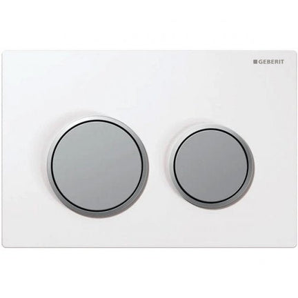 Geberit Kappa21 Dual Flush Plate - White/Matt Chrome Plated | Geberit