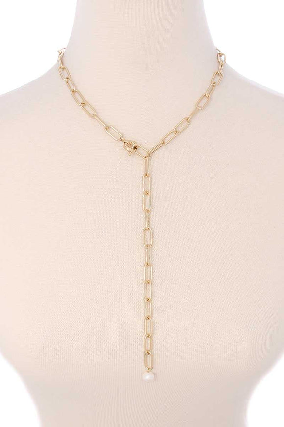 Metal Chain Y Neck Pearl Dangle Necklace