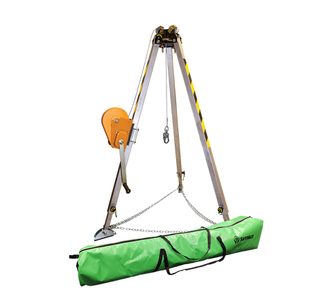 7' Adjustable Tripod Kit w/ 65' Material Winch and Storage Bag