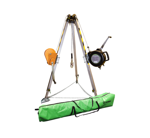 7' Adjustable Tripod Kit w/ 65' 3-Way SRL, 65' Material Winch and Storage Bag