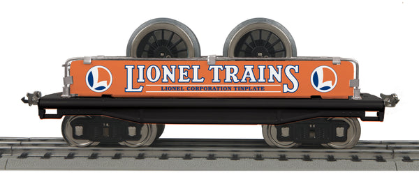 MTH 11-30217 Lionel Lines (Orange & Blue) Standard Gauge Flat Car w/ Wheel Load No. 211 Tinplate