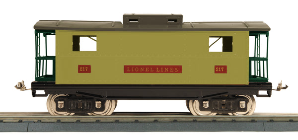 11-30239 Standard Gauge Illuminated Caboose No. 217 - Light Olive Green & Dk. Olive Green (Dk. Olive Green Roof, Dark Red Window Inserts & Peacock Railings)