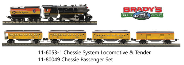 MTH 11-6053-1 Chessie Steam Special  263E Tinplate Locomotive & Tender w/ Proto Sound 3.0 AND 11-80049 Chessie Steam Special 4 Car Passenger Set O Gauge