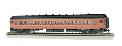 Bachmann 13707 Pennsylvania Railroad PRR 72' Heavyweight Coach #4536 Postwar Tuscan  Red/ Yellow Passenger Car HO Scale