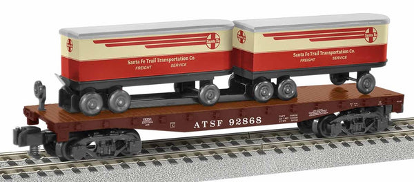 Lionel 1919251 American Flyer Santa Fe ATSF TOFC Flatcar #92868 with 2 trailers S Gauge