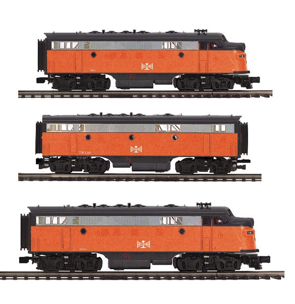 MTH Premier 20-20553-1 Bessemer & Lake Erie B&LE F-7 A Diesel with 20-20553-3 Non Powered B Unit and 20-20553-4 Non Powered A Unit