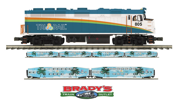 MTH Premier 20-20796-1 Florida Tri-Rail F40PH Diesel Engine With Proto-Sound 3.0 (Hi-Rail Wheels) with MTH 20-61045 4 car passenger set and 20-61046 2 car passenger car set