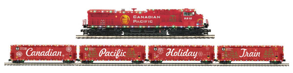 MTH Premier 20-20800-1 Canadian Pacific 2009 Holiday Train AC4400cw Diesel Engine w/Proto-Sound 3.0 (Hi-Rail Wheels) Cab No. 9815 AND 20-92133 4-Car 50' Dbl. Door Plugged Boxcar Set Holiday Train
