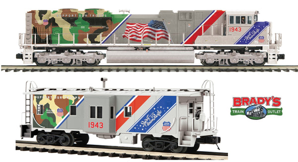 MTH Premier 20-20953-1 Union Pacific UP Spirit SD70ACe Diesel Engine w/Proto-Sound 3.0 (Hi-Rail Wheels) Cab No. 1943 with 20-91631 Union Pacific (UP Spirit) Bay Window Caboose -  Car No. 1943