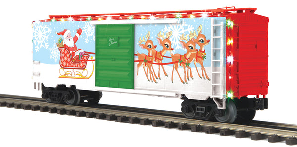 MTH Premier 20-93879 Christmas 40' Boxcar with LED Holiday Lights Used