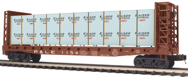 MTH Premier 20-95199 Pittsburgh & Lake Erie P&LE Flat Car w/Bulkheads w/Covered Wood Load