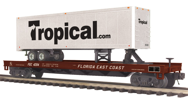 MTH Premier 20-95276 Florida East Coast Flat Car with 40' Trailer #4204