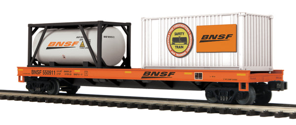 MTH Premier 20-95294 BNSF Flat Car w/Tank Container & 20' Container - Car #550911