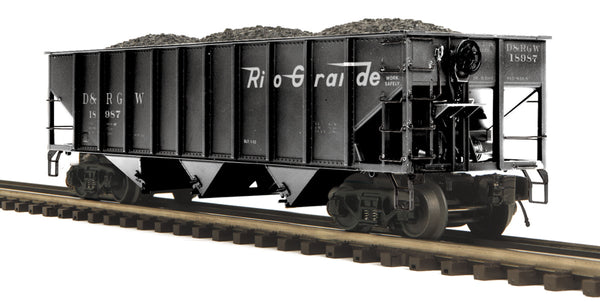 MTH Premier 20-97676 Denver & Rio Grande Western D&RGW 70-ton 3 Bay Hopper Car w/coal load #18987