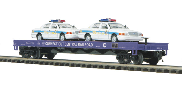 MTH Premier 20-98519 Connecticut Central Railroad Flat Car w/(2) Ford Police Cars