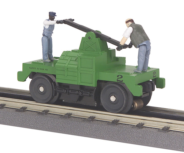 MTH 30-2526 Operating Hand Car - Maintenance of Way M.O.W. Green Base w/(2) Figures