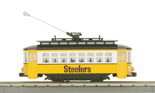 MTH 30-4169-1 Pittsburgh Steeler Trolley Set Ready to Run with Track and Transformer