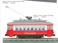 MTH 30-5197 Donald J. Trump Bump-n-Go Trolley Limited