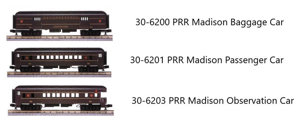 MTH 30-6200 Pennsylvania Madison Baggage Car with 30-6201 PRR Passenger Car and 30-6203 Observation Car